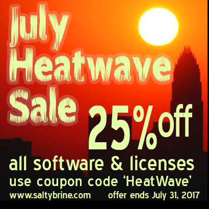 25% off sale all software products for July 2017 - coupon code HeatWave